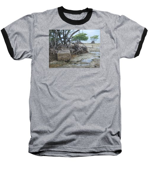 Baseball T-Shirt featuring the photograph Beached Lobster Trap by Robert Nickologianis