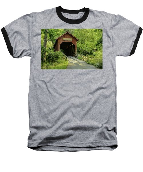Bean Blossom Covered Bridge Baseball T-Shirt by Mary Carol Story