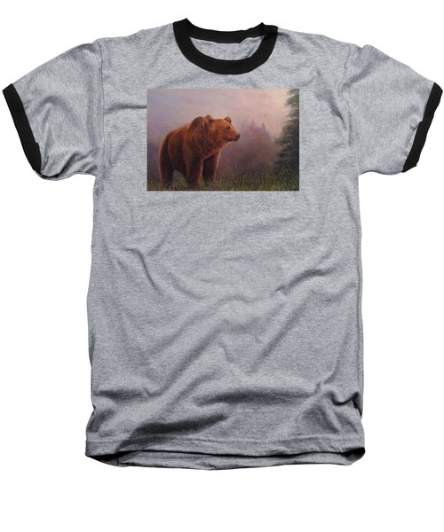 Baseball T-Shirt featuring the painting Bear In The Mist by Donna Tucker