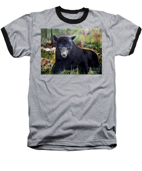 Bear Painting - Blackberry Patch - Wildlife Baseball T-Shirt