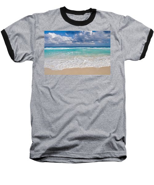 Beautiful Beach Ocean In Cancun Mexico Baseball T-Shirt