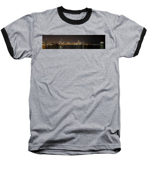 Beautiful Chicago Skyline With Fireworks Baseball T-Shirt by Adam Romanowicz