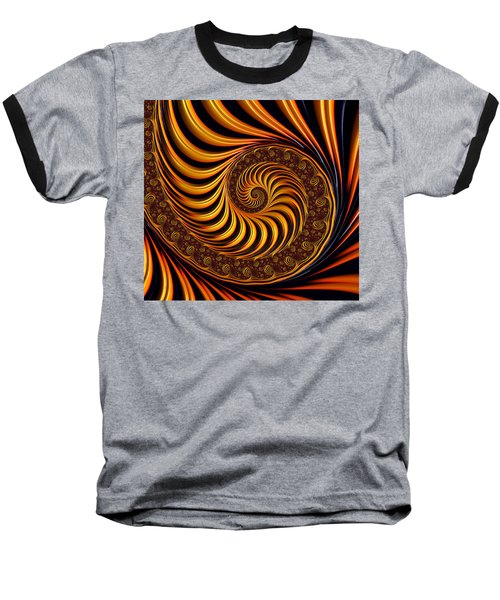 Beautiful Golden Fractal Spiral Artwork  Baseball T-Shirt