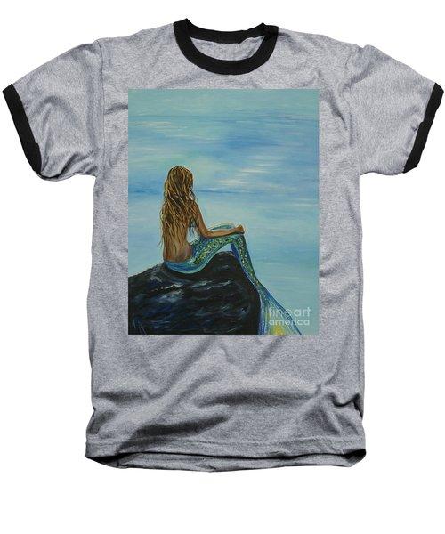 Beautiful Magic Mermaid Baseball T-Shirt by Leslie Allen