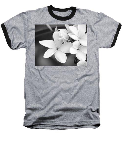 Beautiful Plumeria In Black And White Baseball T-Shirt