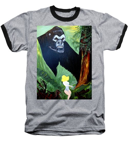Baseball T-Shirt featuring the painting Beauty And The Beast by Nora Shepley