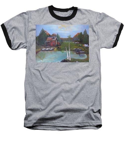 Baseball T-Shirt featuring the painting Beaver Pond - Mary Krupa by Bernadette Krupa