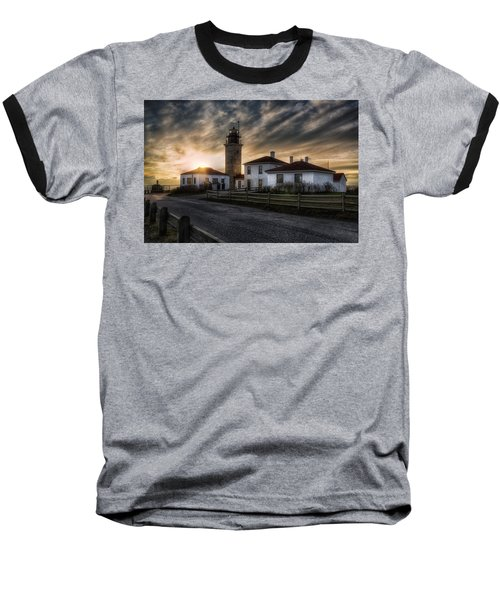 Beavertail Lighthouse Sunset Baseball T-Shirt by Joan Carroll
