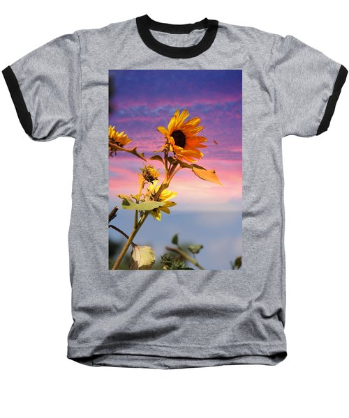 Bee A Sunflower Baseball T-Shirt by Aaron Berg
