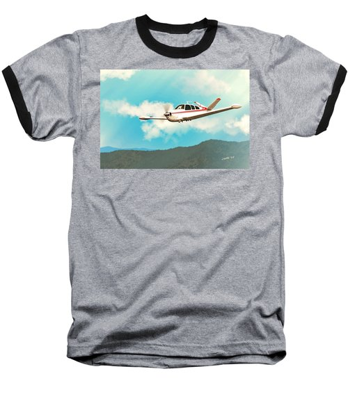 Beechcraft Bonanza V Tail Red Baseball T-Shirt
