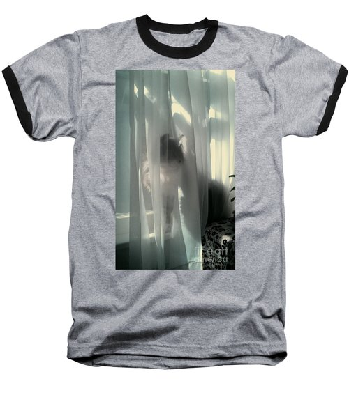 Baseball T-Shirt featuring the photograph Behind The Curtain by Jacqueline McReynolds