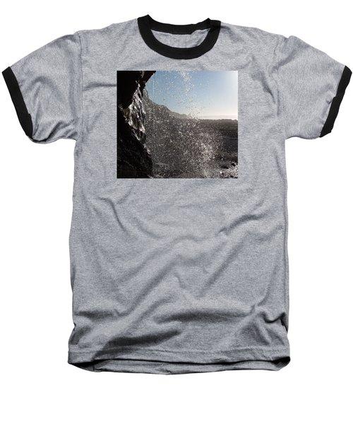 Behind The Waterfall Baseball T-Shirt by Richard Brookes
