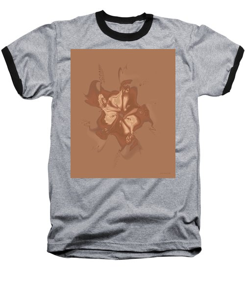 Beige Satin Morning Glory Baseball T-Shirt