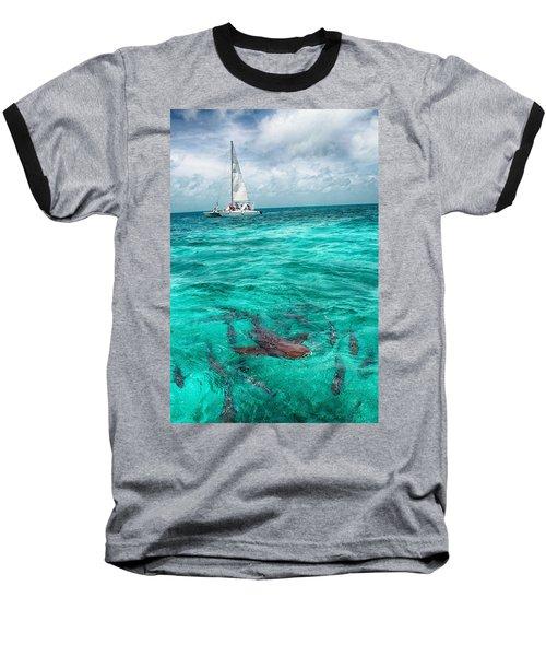 Belize Turquoise Shark N Sail  Baseball T-Shirt