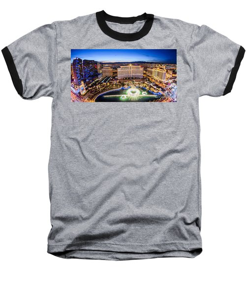 Baseball T-Shirt featuring the photograph Bellagio Rountains From Eiffel Tower At Dusk by Aloha Art