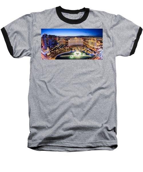 Bellagio Rountains From Eiffel Tower At Dusk Baseball T-Shirt