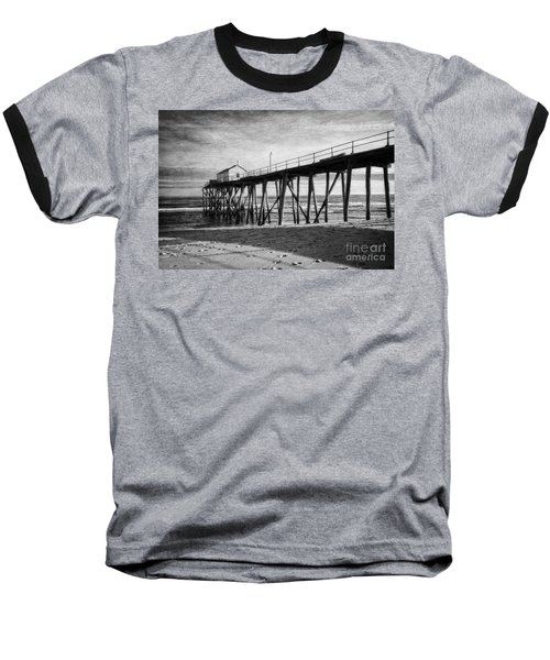 Baseball T-Shirt featuring the photograph Belmar Fishing Pier In Black And White by Debra Fedchin