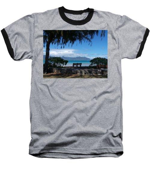 Bench Of Kaneohe Bay Hawaii Baseball T-Shirt by Jewels Blake Hamrick