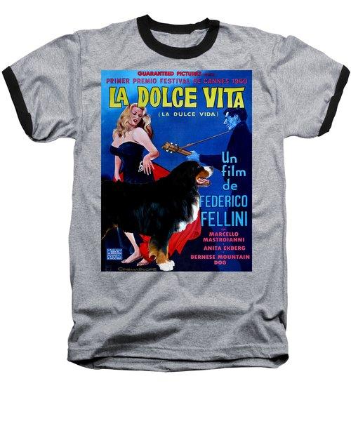 Bernese Mountain Dog Art Canvas Print - La Dolce Vita Movie Poster Baseball T-Shirt