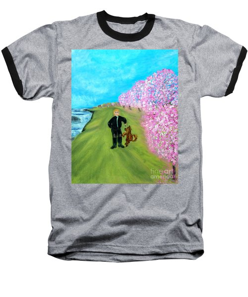Baseball T-Shirt featuring the painting Best Friends. Painting. Promotion by Oksana Semenchenko