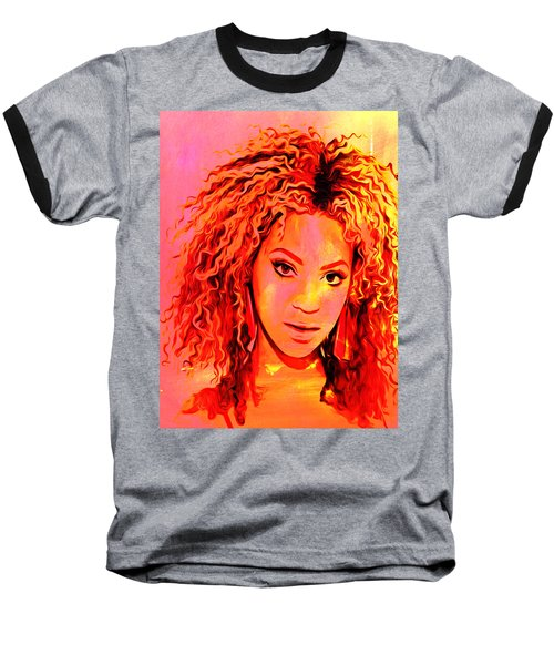 Baseball T-Shirt featuring the painting Beyonce by Brian Reaves