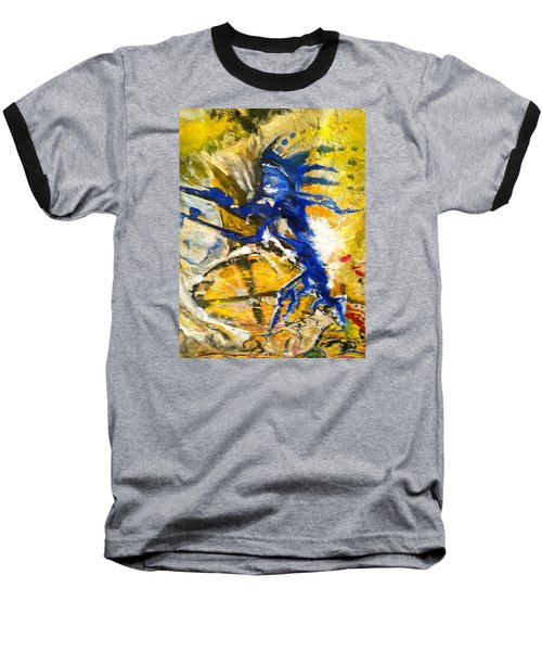 Baseball T-Shirt featuring the painting Beyond Boundaries by Kicking Bear  Productions