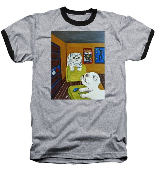 Baseball T-Shirt featuring the painting Bffs by Victoria Lakes