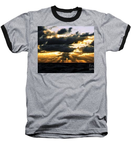 Baseball T-Shirt featuring the photograph Crespuscular Biblical Rays At Dusk In The Gulf Of Mexico by Michael Hoard