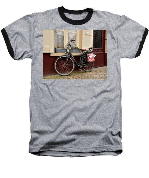 Bicycle With Baby Seat At Doorway Bruges Belgium Baseball T-Shirt