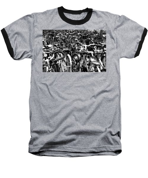 Baseball T-Shirt featuring the photograph Sea Of Bicycles- Karlsruhe Germany by Joey Agbayani