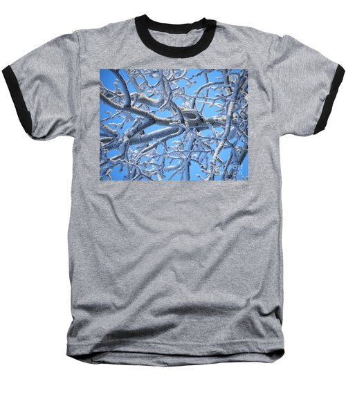 Bifurcations In White And Blue Baseball T-Shirt by Brian Boyle