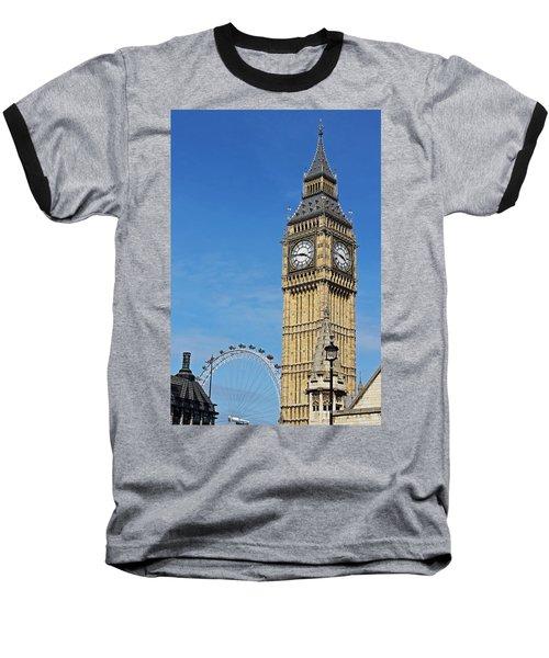 Big Ben And London Eye Baseball T-Shirt