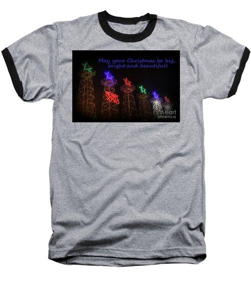 Big Bright Christmas Greeting  Baseball T-Shirt