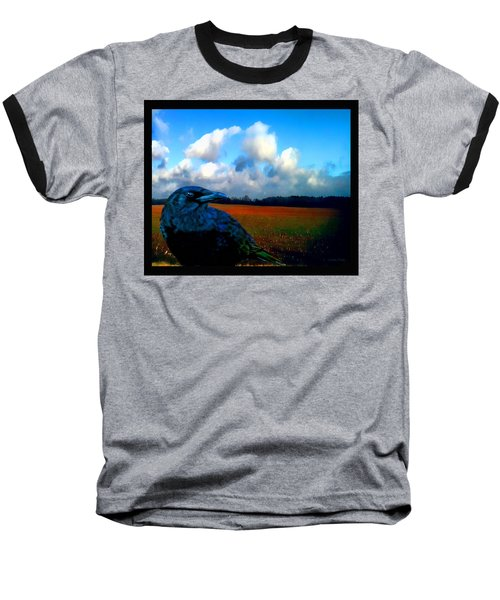 Big Daddy Crow Series Silent Watcher Baseball T-Shirt by Lesa Fine