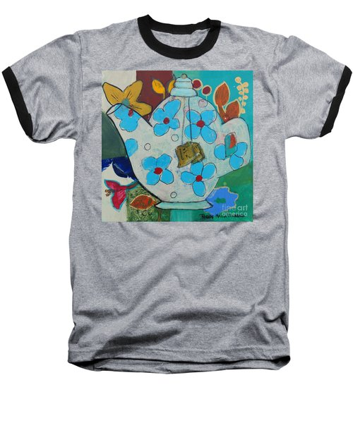 Big Floral Tea Pot Baseball T-Shirt