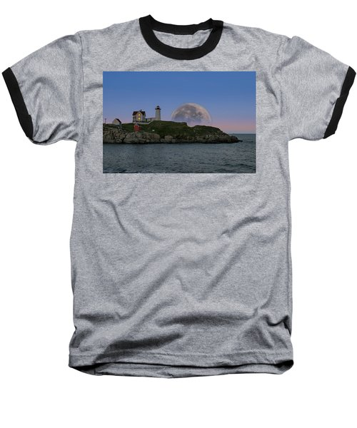 Big Moon Over Nubble Lighthouse Baseball T-Shirt by Jeff Folger
