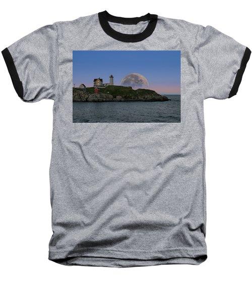 Big Moon Over Nubble Lighthouse Baseball T-Shirt