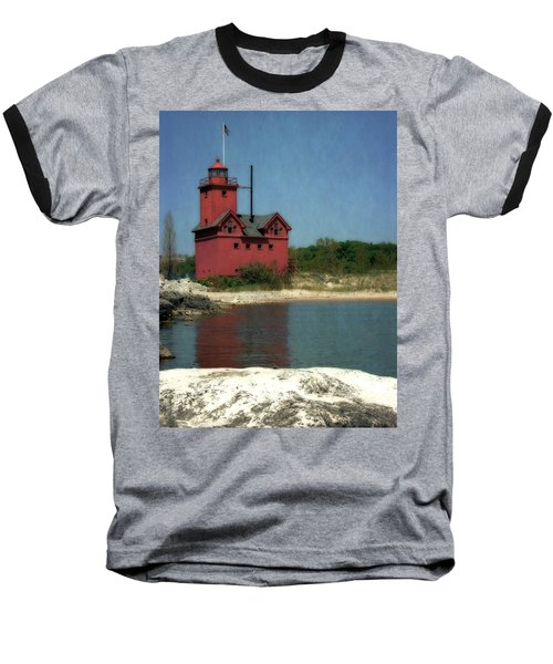 Big Red Holland Michigan Lighthouse Baseball T-Shirt