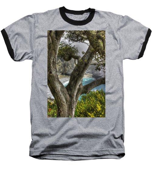 Big Sur Mc Way Falls At Julia Pfeiffer State Park-1 Central California Coast Spring Early Afternoon Baseball T-Shirt by Michael Mazaika