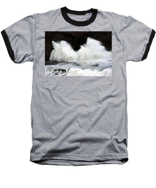 Big Waves Breaking On Breakwater Baseball T-Shirt