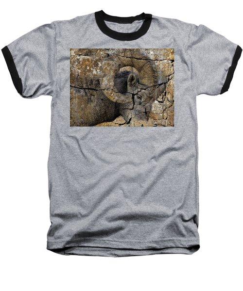 Bighorn Rock Art Baseball T-Shirt by Steve McKinzie