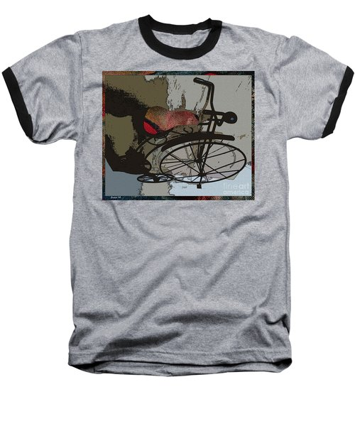 Baseball T-Shirt featuring the painting Bike Seat View by Ecinja