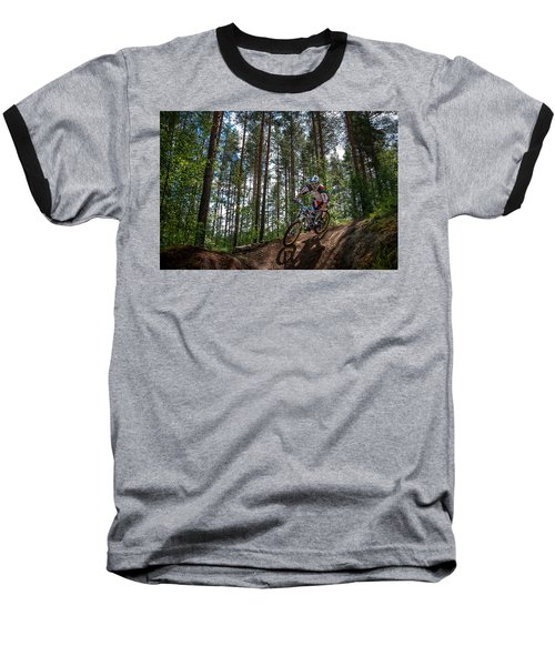 Biker On Trail Baseball T-Shirt