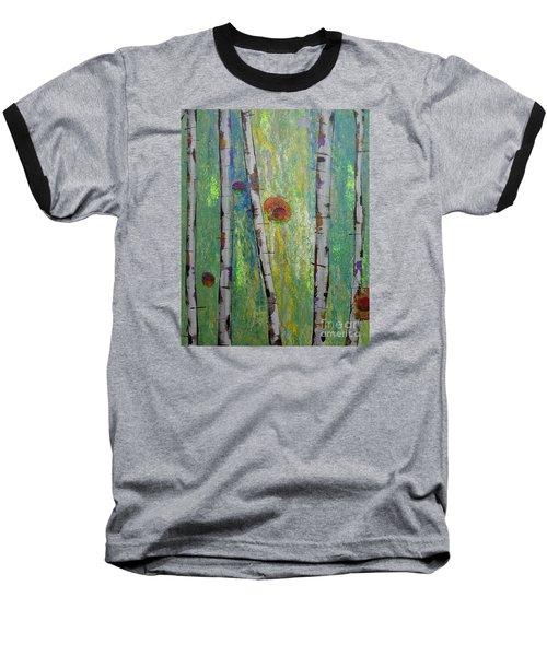 Birch - Lt. Green 5 Baseball T-Shirt by Jacqueline Athmann