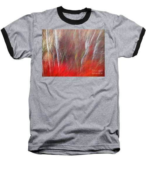Birch Trees Abstract Baseball T-Shirt