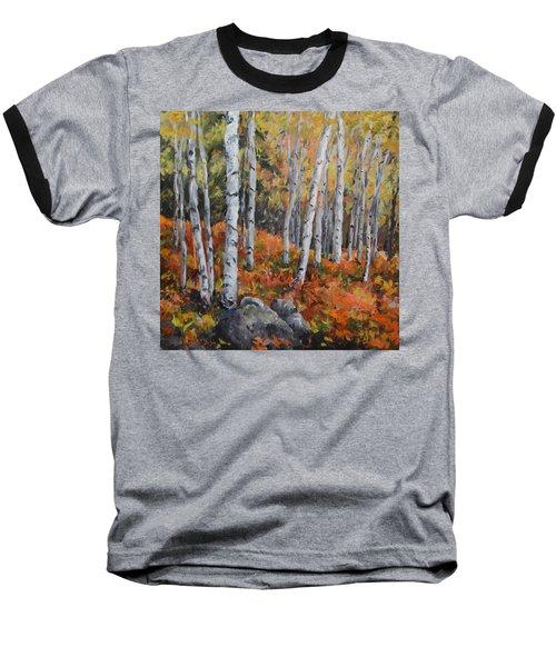 Birch Trees Baseball T-Shirt by Alexandra Maria Ethlyn Cheshire