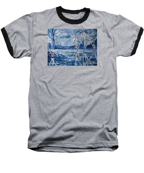 Birches In Blue Baseball T-Shirt by Ellen Levinson