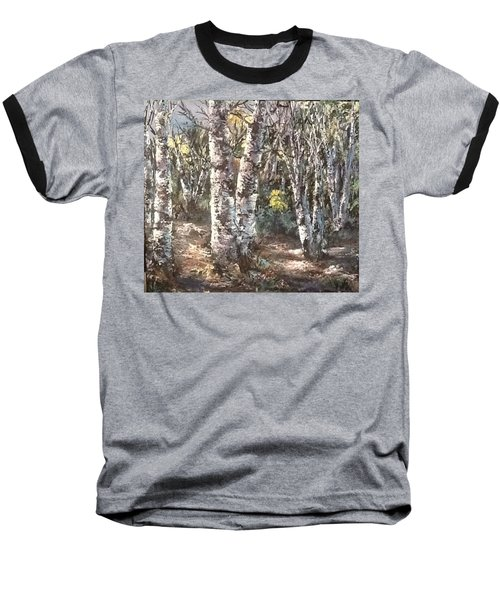 Baseball T-Shirt featuring the painting Birches by Megan Walsh