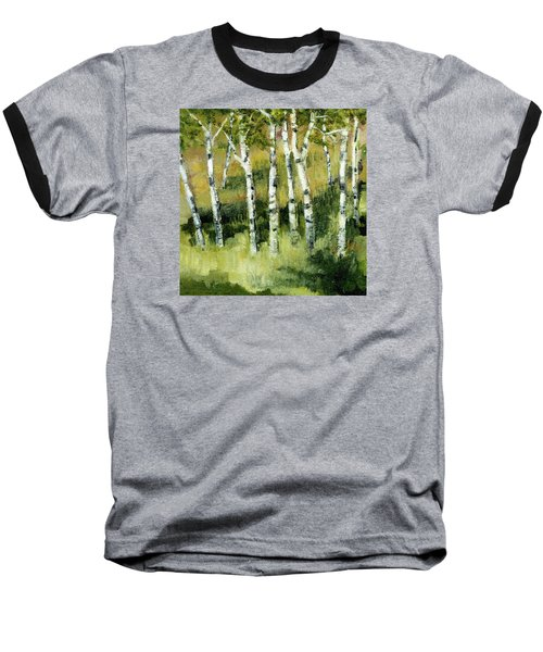 Baseball T-Shirt featuring the painting Birches On A Hill by Michelle Calkins