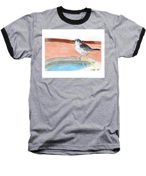 Baseball T-Shirt featuring the painting Bird Bath by C Sitton